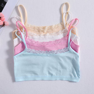 2Pcs Young Girl Lace Bra Puberty Teenage Soft Cotton Underwear Training Bra 8-14Y