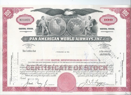 Pa American World Airways PanAm stock certificate 1965 famous airline bankruptcy