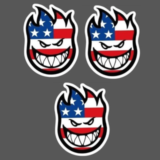 (3) VTG SKATEBOARD STICKERS LOT FIRE HEAD USA FLAG SPITFIRE LOGO