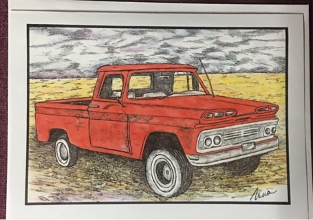 "RED CHEV - 5 x 7"" art card by artist Nina Struthers - GIN ONLY"