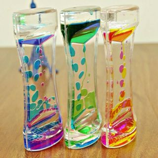 free liquid motion visual slim liquid oil glass acrylic hourglass