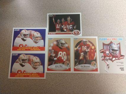 6 Card Vintage Joe Montana and Jerry Rice NFL football cards San Francisco 49ers