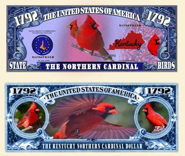 ❤Kentucky Northern Cardinal Collectible Million $ Bill -NEW -