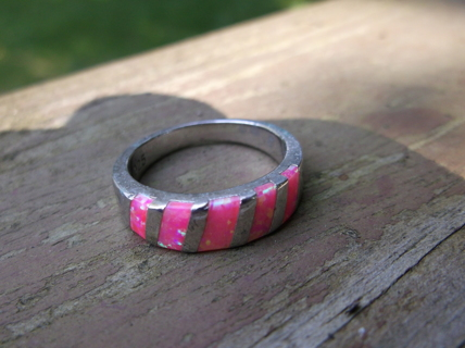 Pink Fire Opal - 925- sterling silver ring