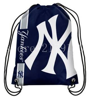 35*45 cm knitted polyester New York Yankees backpack sports bag with rope Metal Grommets