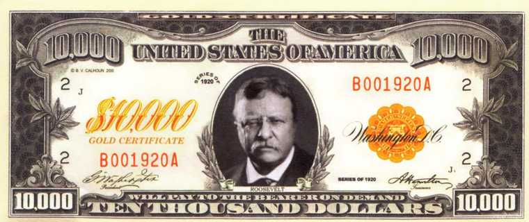 Free: Roosevelt 10,000 Dollar Gold Certificate replica - Other ...