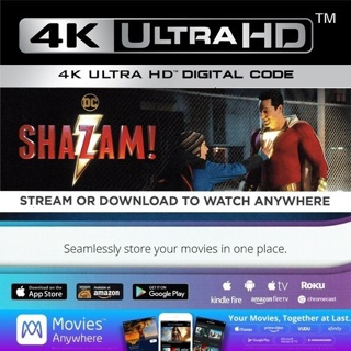SHAZAM 4K ULTRA HD MOVIES ANYWHERE CODE ONLY