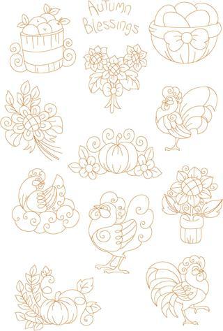 Free 5x7 Rooster Hen Sunflower Pumpkin Harvest Machine Redwork