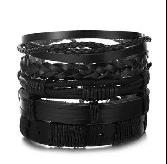 Vintage Leaf Feather Multilayer Leather Bracelet Men Fashion Braided Handmade