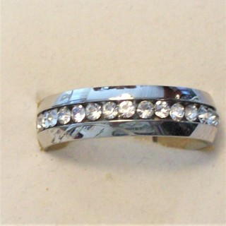 Awesome New Stainless Steel Band Ring with CZ Stones . Size 9