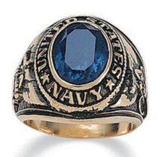 US Navy Ring blue crystal 18kt NWT