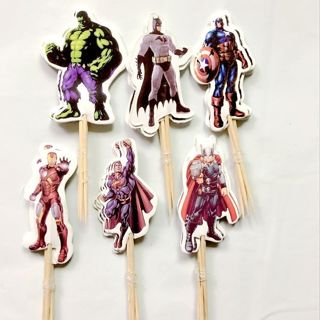 24Pcs Cartoon Avengers Toppers Picks Cupcake Topper Kids Birthday Party Decor