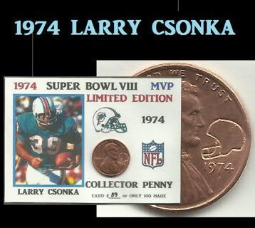 Free: 1974 Lincoln Cent Super Bowl VIII MVP Larry Csonka