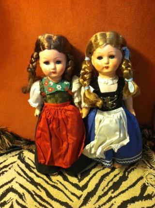 Vintage Black Forest Dolls Lot of 2 TLC