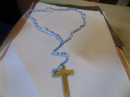 Hand made blue and white string beaded rosary with gold plastic crucifix