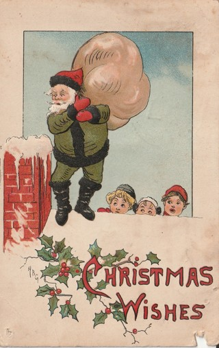 Vintage Used Postcard: Embossed: 1914 Christmas Wishes