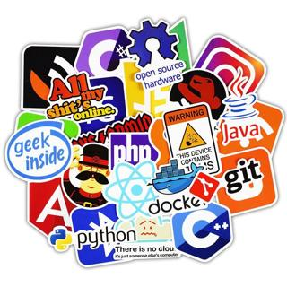 50 Pcs Java Internet JS Php Docker Bitcoin Html Cloud Programming Language APP Logo Funny Stickers