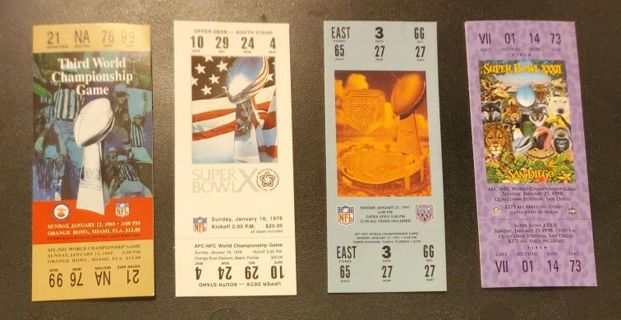 Collection of 4 Vintage Super Bowl Collectible Ticket Stickers