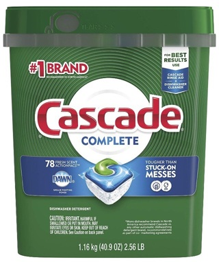 Cascade Complete ActionPacs Dishwasher Detergent, Fresh Scent, 78 Count