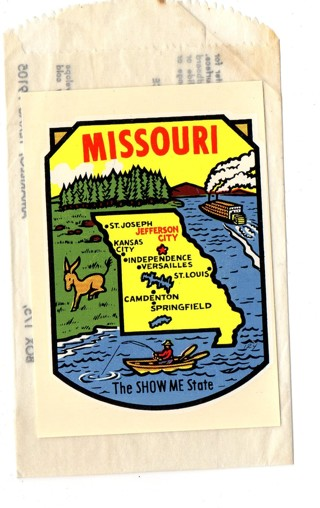Vintage 1950's Impko Sticker/Decal: Missouri, The Show Me State