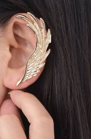 1pc NEW Angel Wing Feather Golden Ear Clip Left Ear Cuff Clip FREE SHIPPING