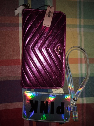 Nwt Victoria's secret wallet and pink iridescent wristlet