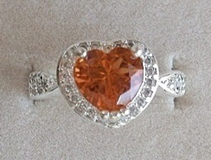 FASCINATING STERLING SILVER RICH HONEY & ICY WHITE TOPAZ HEART RING SZ 6.5 BOX FREE SHIP! FREE GIFT!