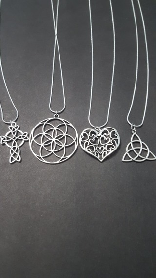 4 Necklaces: Celtic Knot Cross, Triquetra, Flower of Life and Filigree Heart