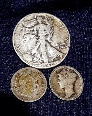 Junk Silver-1942 Half $ -1903 Barber & 1923 Mercury Dime - 90% Silver -