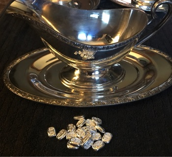 SILVER LOT!! 1 Silver tray 1 Silver gravy bowl and 5 Grams hand pored bar!