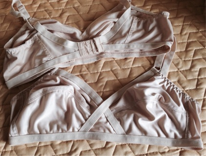 Two Beige  Cotton Lined Unpadded Bras, 38D