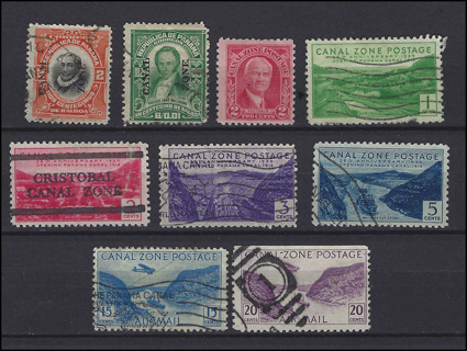 Classic Era Panama Canal Zone stamps, used/MH, with Scott IDs, est CV $7.55