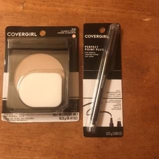 Cover girl foundation powder and cover girl eyeliner