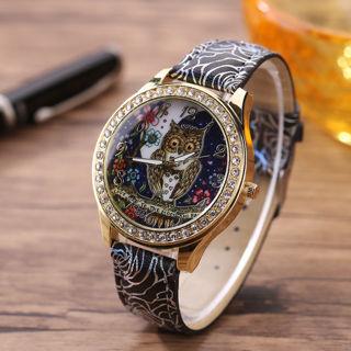 Fashion Women Owl Rhinestone Rose Flower Band Quartz Casual Wrist Watch