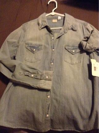 New Sears blue jean XL top