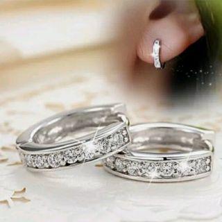 Women Silver Round Crystal Heart Hoop Ear Stud Earrings Wedding Bridal Jewelry