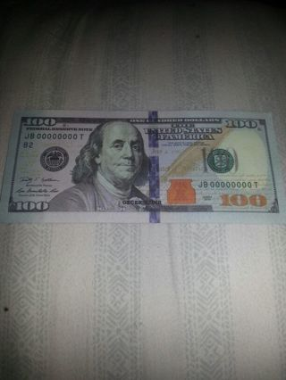 Free: High quality movie prop money  Hundred dollar bill real size