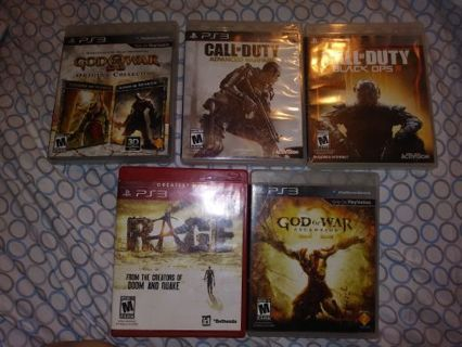 7 PS3 games God of War Call if Duty advanced warfare black ops 3 rage etc...