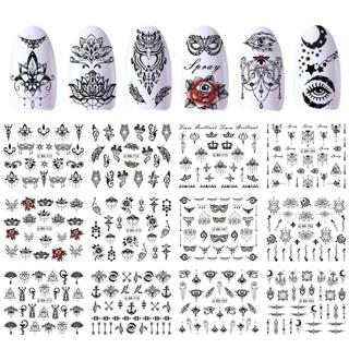 12 Designs Water Stickers Transfer Black Nail Decals Flowers Feather Owl Wraps Manicure Necklace D