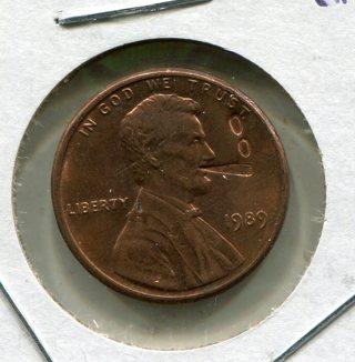 1989 P Lincoln Smoking Cigar Cent