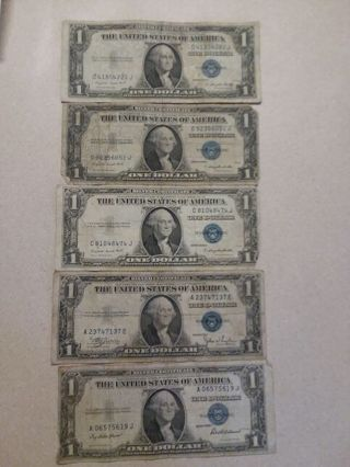 5 1935 1 dollar silver certificates