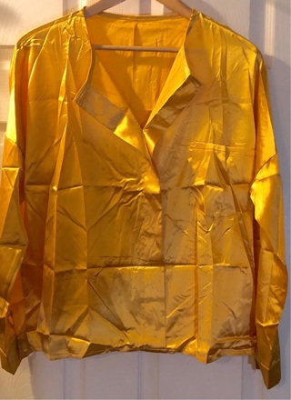 BNIP Sz XXL Yellow-Gold Long Sleeved, Breast Pocketed Blouse. Soft Feel. Polyester.
