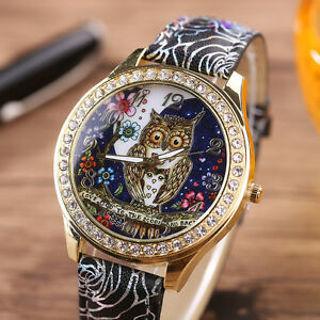 Luxury Women Quartz Stainless Steel Leather Crystal Diamonds Owl Wrist Watch US