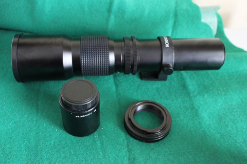 Rokinon 500mm f/8.0 Telephoto T-Mount Lens With cannon t- mount and 2x converter