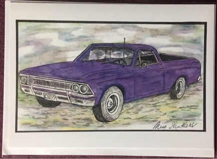 "PURPLE EL CAMINO - 5 x 7"" art card by artist Nina Struthers - GIN ONLY"