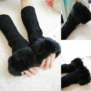 Women Fingerless Gloves Arm Warmer Long Winter Fuax Fur Mittens Knitted Ribbed