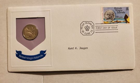 Vintage 1973 British Virgin Islands First Day Uncirculated Coin and Stamp Set with COA