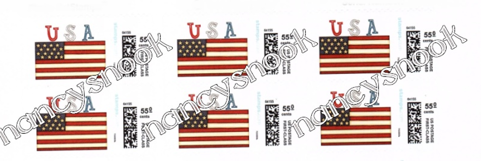 """6 count of Official USPS 55 cent postage stamps """"USA Flag"""""""