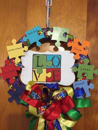 Autism Awareness .... puzzle Wreath gift Handmade by me. GIN gets bonus hanger.