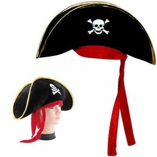 Childs Pirate Captain Hat Boys Girls Hook Buccaneer Kids Fancy Dress Accessory